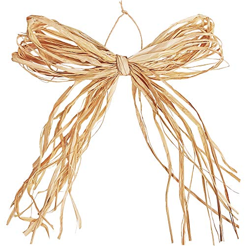 24 Pcs 7.9' Natural Raffia Bows Pre-Tied Raffia Paper Bows Raffia Twist Tie Bows Decorative Bows Craft for Holiday Floral Arrangement Bouquets Gift Packaging Wreaths Garlands Rustic Decor