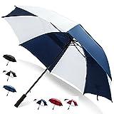62 Inch Golf Umbrella (Blue/White, 4-Pack) Bulk Umbrellas Multipack Umbrellas Strong Umbrella Wind Resistant Automatic Umbrella Open