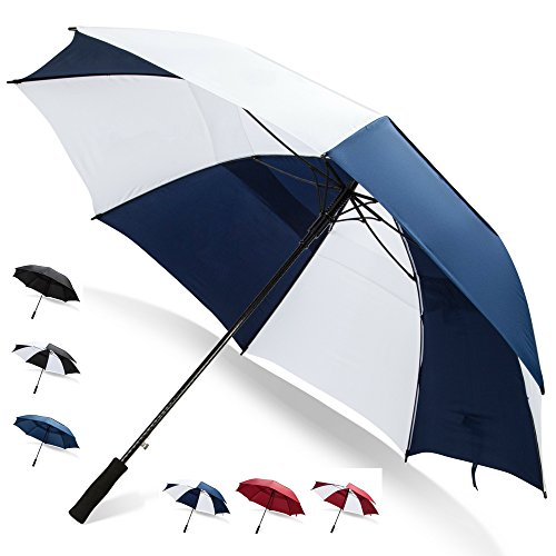 68 Inch Golf Umbrella (Blue/White, 1-Pack) Golf Push Cart Compact Umbrella Windproof Umbrella Automatic Umbrella Mens Umbrella Large Golf Umbrella 68 Inch Umbrella