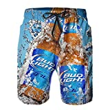 B-ud Light Beer Swim Trunks for Men Board Shorts with Mesh Lining and Pockets Quick Dry 3D Print Beach Shorts for Youth Boys Swim Shorts
