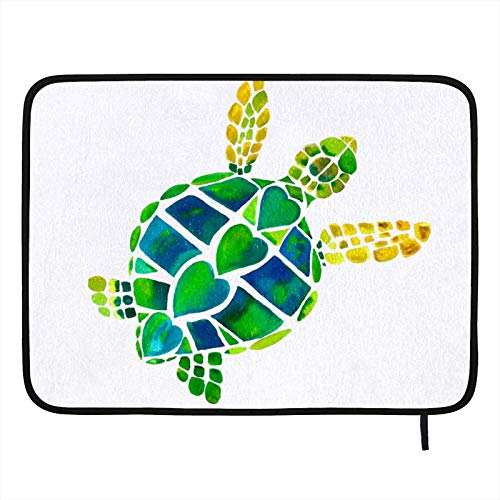 Dish Drying Mat for Kitchen,Absorbent Drying Pad Dishes Drainer Mats Pot Holder 24×18in Sea Turtle Green Heart