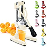 Zulay Professional Citrus Juicer - Manual Citrus Press and Orange Squeezer - Metal Lemon Squeezer - Premium Quality Heavy Duty Manual Orange Juicer and Lime Squeezer Press Stand, Cream