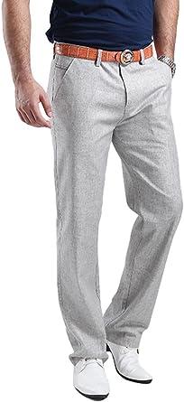 Hoerev Mens Linen Casual Trousers, Casual Pants