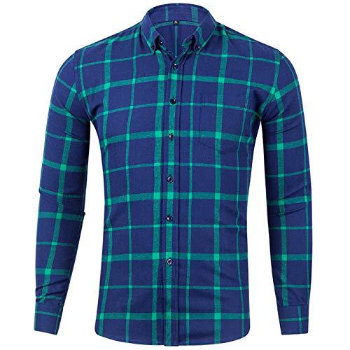 Camisa de Manga Larga con Estampado clásico de Cuadros Escoceses para Hombre, Ajuste Regular para el Trabajo de Oficina, Eventos Formales e Informales XL