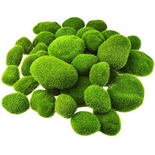 Andifany 36 Piezas de 5 Tama?Os de Rocas de Musgo Artificiales Decorativas Bolas de Musgo Verde DecoracióN de Musgo Falso para Arreglos Florales Jardines