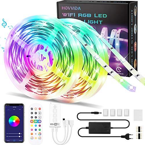 WiFi Tiras LED 20M RGB Música, Compatible con Alexa y Google Home HOVVIDA Luces de Tiras LED 5050 12V para Habitación, Controladas por App, IR Control Remoto y Controlador, 16 Milliones de Colores