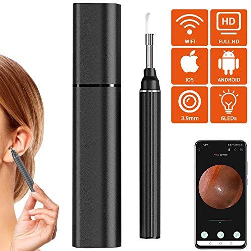 HAIHF Otoskop, Endoskop Ohrendoskopkamera 3mm HD 1080P 6 LED-Leuchten Inspektionskamera mit Ohrenschmalz-Reinigungswerkzeug für Kinder und Erwachsene Kompatibel mit iOS/Android