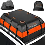 FIVKLEMNZ Car Roof Bag Cargo Carrier, 21 Cubic Feet Waterproof Rooftop Cargo Carrier with Anti-Slip Mat + 8 Reinforced Straps + 6 Door Hooks, Suitable for All Vehicle with/Without Roof Rack
