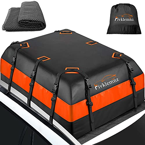 FIVKLEMNZ Car Roof Bag Cargo Carrier, 21 Cubic Feet Waterproof Rooftop Cargo Carrier with Anti-Slip Mat + 8 Reinforced Straps + 4 Door Hooks, Suitable for All Vehicle with/Without Roof Rack