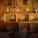 Lichterkette mit LED Kugel weihnachtsdeko,12 Sterne Lichtervorhang, Weihnachts-Innenbeleuchtung, Lichterketten für Innenräume, 8 Modi Innen & Außenlichterkette Wasserdicht, Warmweiß Sternenvorhang - 2