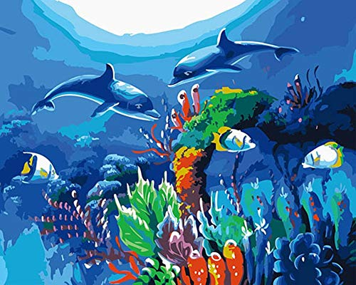 DIY Paint by Numbers Kit for Adults - Sea World | DIY Paint by Numbers Landscape Scene Paintings Pictures Arts Craft for Home Wall Decor | Pre-Printed Art-Quality Canvas, 3 Brushes, 24 Acrylic Paints