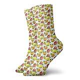 Calcetines suaves de media pantorrilla de la longitud de la vitamina C patrón de temporada naranja granada limón calcetines decorativos para hombres mujeres