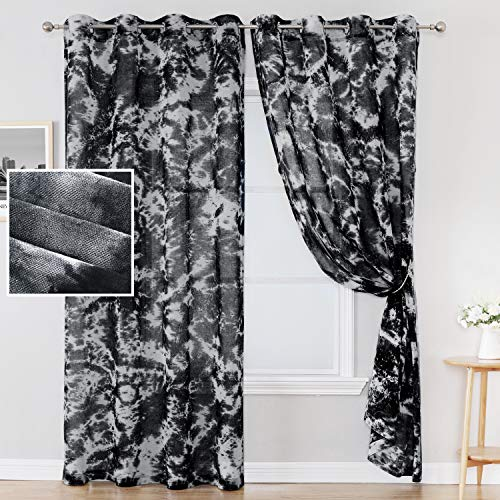 """Manual Tie Dye Curtains for Bedroom Rich Natural Linen Semi-Sheers Curtains Hand Craftsmanship Home Decorative Grommet Window Treatments Panels for Living Room 2 Panels, 52"""" by 84"""" Inch, Black"""