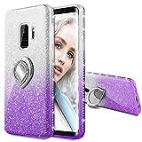 Maxdara Case for Galaxy S9 Glitter Case with Ring Holder Gradient Kickstand Series Bling Sparkle Diamond Rhinestone Bumper Luxury Pretty Fashion Girls Women Case Galaxy S9(Silver Purple)