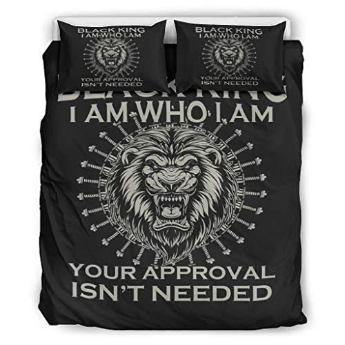 Haythan Juego de ropa de cama de 3 piezas con diseño de león negro