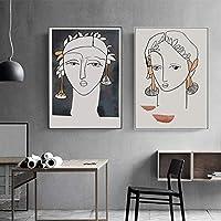 """北欧の抽象的なヴィンテージフィギュアプロフィールウォールアートキャンバスポスターとプリントリビングルームの家の装飾のための壁の写真23.6"""" x 31.4""""(60x80cm)フレームレス×2"""