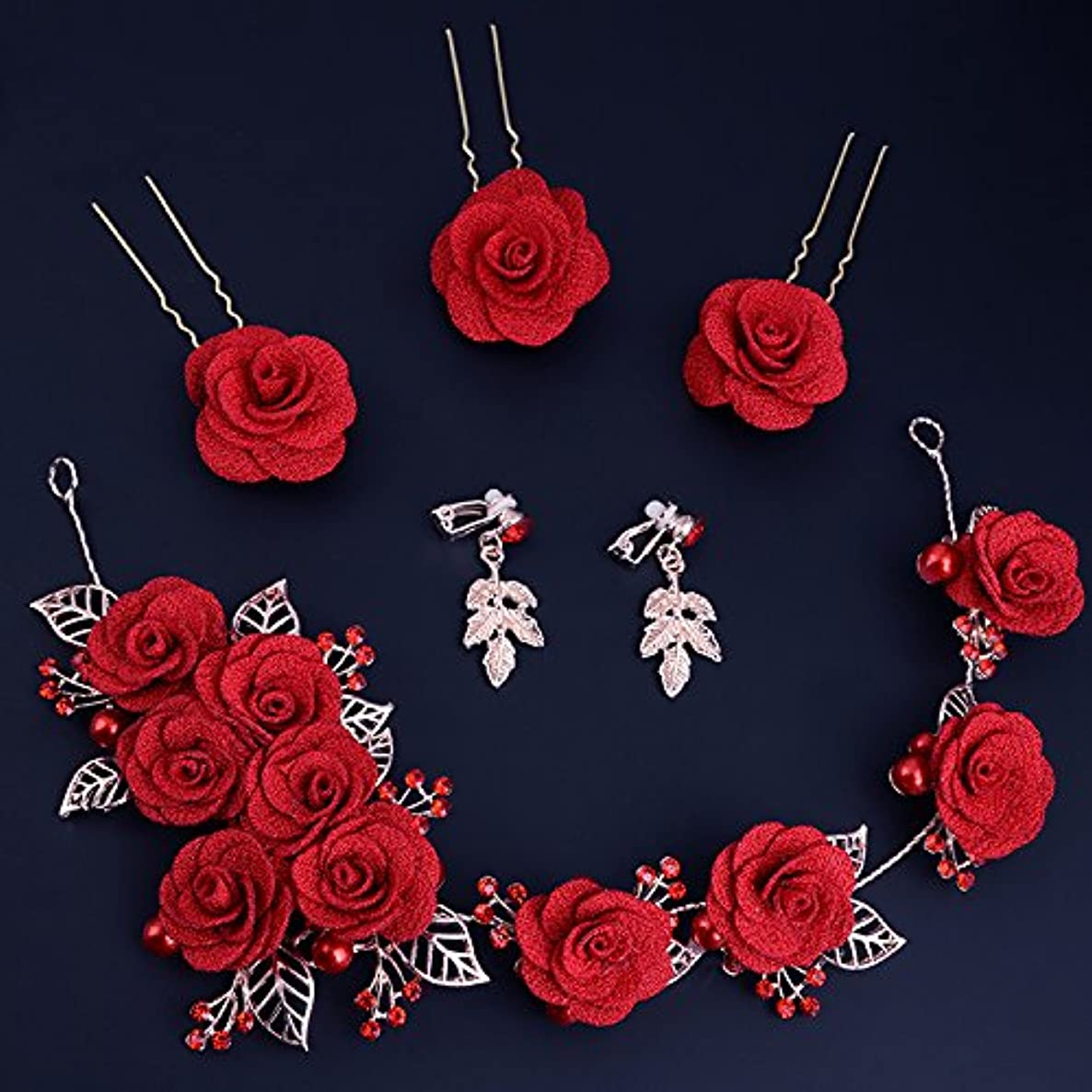 TKHNE Jewelry earrings red dress made hair accessories clothing accessories color three-piece wine service first wedding Marriage ceremony bride Jing version