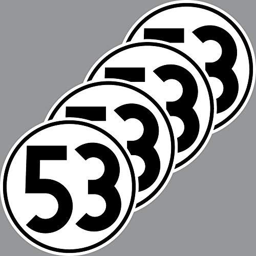 4 Aufkleber 10cm Startnummer 53 Sticker Auto Start Nummer Herbie VW Käfer Deko