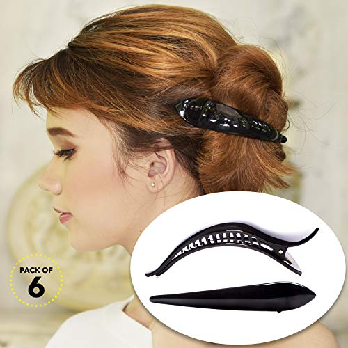 RC ROCHE 6 Stück Entenschnabel Krokodil Haarspange für Damen Mädchen Bogen Haarklammer Alligator Starker Halt Professionelles Styling, Medium Schwarz