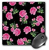 elegant hot pink flowers on black mousepad