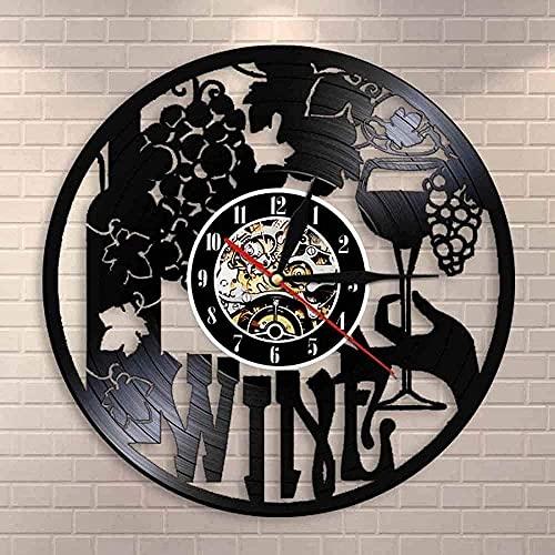GVSPMOND Bodega Botella de Vidrio Vid Beber Vino Logo Reloj de Pared Bar Pegatina Emblema Disco de Vinilo Reloj de Pared