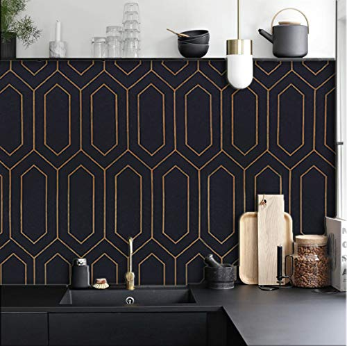 Geometric Wallpaper Gold and Black Contact Paper Gold Pattern Black Peel and Stick Wallpaper Gold and Black Self-Adhesive Removable Contact Paper for Wall Covering Furniture Vinyl Roll 118'x17.7'