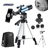 Aomekie Telescopio Astronomico para Niños con Trípode Adaptador para Teléfono Filtro de Luna y Lente 3X Barlow