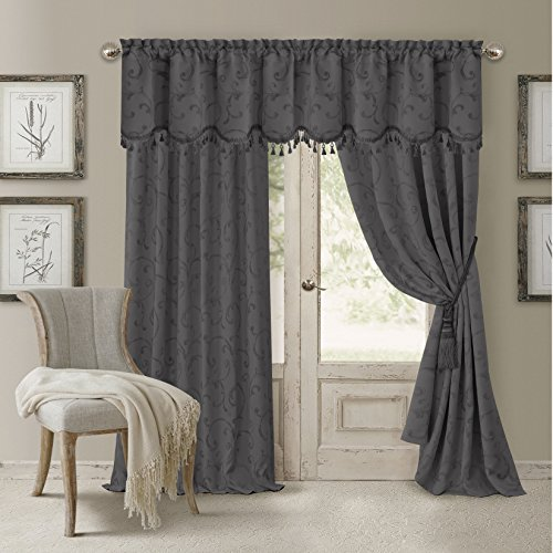 "Elrene Home Fashions 26865901085 Blackout Energy Efficient Room Darkening Rod Pocket Window Curtain Drape Regal Jacquard Woven Panel, 52"" x 84"", Gray, 1"