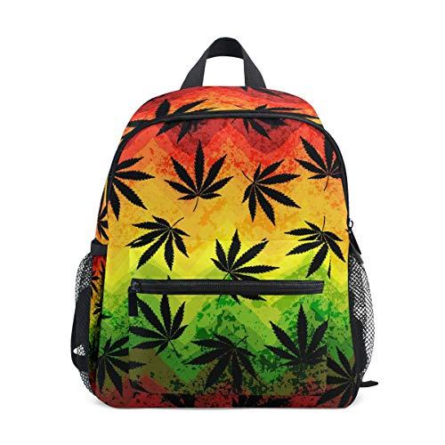 QMIN Kids Backpack Marijuana Hemp Leaves, Small Toddler Preschool Shoulder Bag Travel Elementary Kindergarten School Bags for Girls Boys Children