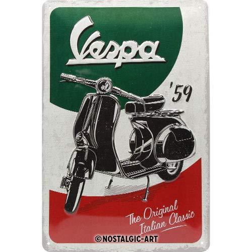 Nostalgic-Art Retro Blechschild Vespa – The Italian Classic – Geschenk-Idee für Roller Fans, aus Metall, Vintage-Design zur Dekoration, 20 x 30 cm