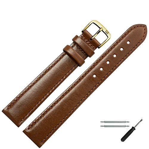 MARBURGER Uhrenarmband 14mm Leder Braun XL - Werkzeug Montage Set 6601432000220