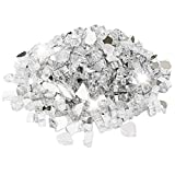 Utheer Ultra White Reflective Fire Glass 9.5 Pounds 1/2 Inch for Indoor Outdoor Natural Propane Fireplaces Fire Pit Vase Fillers Garden Landscape Decorative, High Luster Tempered Glass Rocks