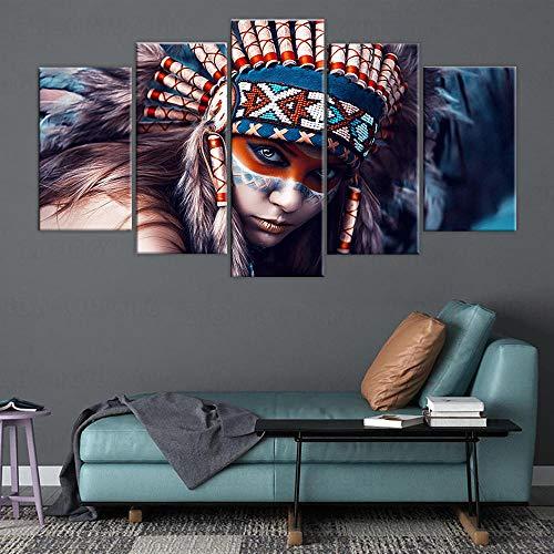 3D Leinwandbilder 5 Teile XXL Vlies Leinwand Bilder Dekoration Indianer Mädchen Malerei Bild Auf Leinwand 5Tlg Bilder Mehrteilig Zum Aufhängen 150×80Cm (Mit Rahmen)