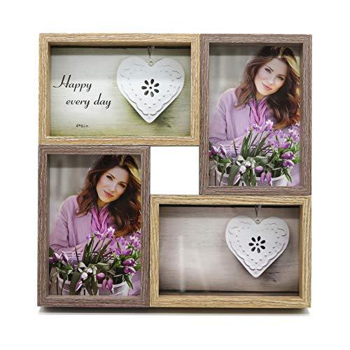 Smiling Art Bilderrahmen Fotorahmen Collage für 4 Fotos, Foto Collage aus MDF Holz mit Glas (Braun+Dunkelbraun, 4x10x15 cm)