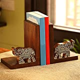Perfect decorative bookends ideal to be used to organise books for kids room and study and office table Material: Sheesham wood Art type: Wooden hand carving depicting elephant fugurines Size: 27.4 cm x 12.4 cm x 18 cm Note: As this product is handcr...