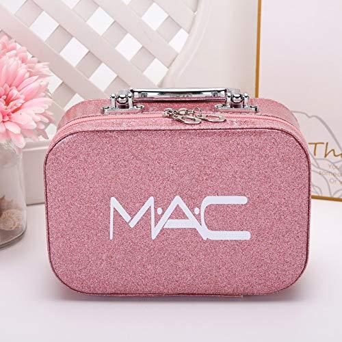 Sac cosmétique Grande capacité Petite boîte de Rangement Portable Grande boîte de Maquillage Portable Femelle 22 * 15 * 8.5CM Trompette Rose