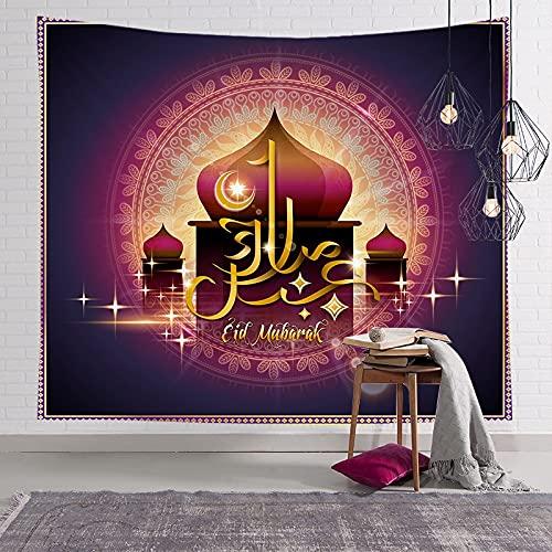 KHKJ Musulmán Luna Castillo Tapiz para Colgar en la Pared Viajar Camping Pintura al óleo Boho Manta Yoga Festival de Ramadán Tapices A13 200x150cm