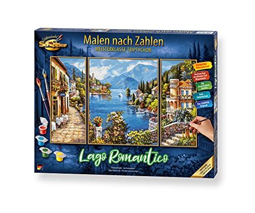 Schipper 609260818 Malen nach Zahlen, Lago Romantico - Bilder malen für Erwachsene, inklusive Pinsel und Acrylfarben, Triptychon, 50 x 80 cm