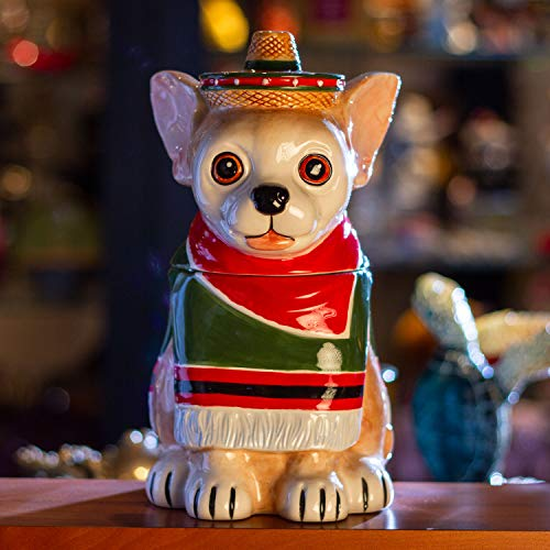 Summit Collection Ceramic Ay Chihuahua In Poncho Sombrero Cookie Jar Dog Biscuit Pet Food Treat Canister with Lid Ceramic 10 Inch Tall
