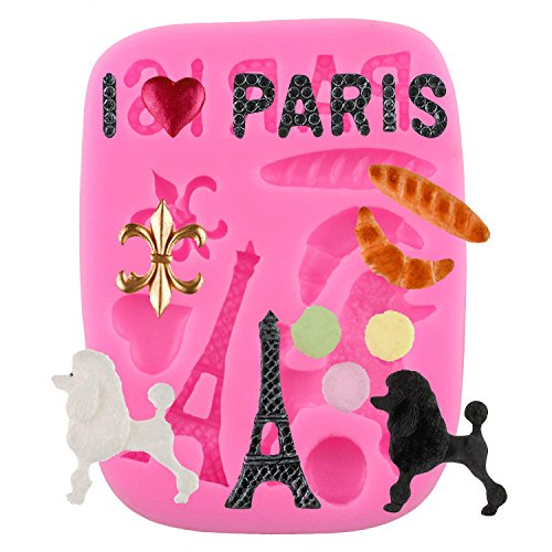 Mujiang Eiffel Tower Poodle Cake Decorating Molds Gum Pastry Silicone Fondant Baking Tools