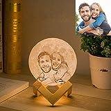 Lámpara de luna personalizada Gahaya foto personalizada impresa en 3D luz de noche creativa romántica con soporte y control táctil y regalos USB recargables 15 cm 16 colores
