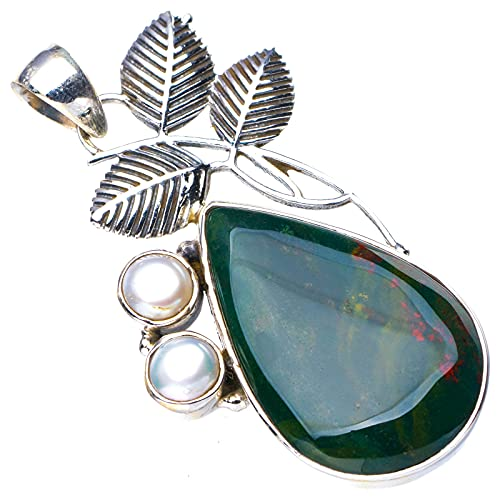 StarGems Natural Piedra De Sangre Hoja De Perla De Río Colgante de plata de ley 925 hecho a mano 5.1cm E4377