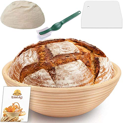9 Inch Round Proofing Basket, Splinter-Free Sourdough Bread Banneton, Top Grade Rattan Bowl, Affordable Brotform Set with Linen Cloth Liner, Dough Scraper, Bread lame for Home and Professional Bakers