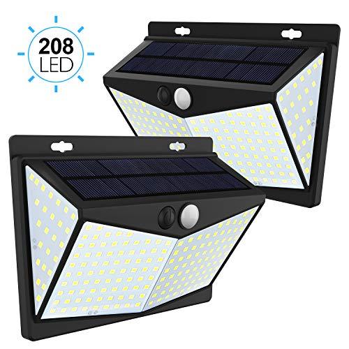 JIM'S STORE Lámpara Solar 2 Pack Luz Solar Exterior 208LED con Sensor de Movimiento Impermeable 65 Gran Ángulo 270º de Iluminación para Garaje Patio Jardín
