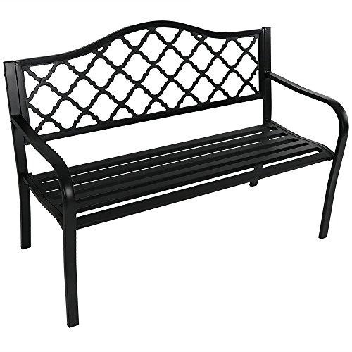 Sunnydaze Outdoor Patio Bench - 2-Person Outside Garden Park Bench Furniture - Durable Cast Iron Metal - Black Lattice Decorative Design - Outdoor Seating for Yard, Porch, Deck, Entryway or Backyard
