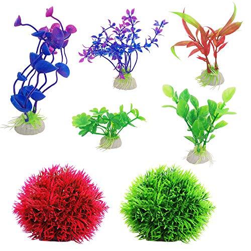 SourceTon 2 Unidades de Bolas de Musgo de marimo Falsas y 5 Unidades de Plantas Artificiales para Acuario, decoración de Acuario, decoración para el hogar, de plástico, Colores Surtidos