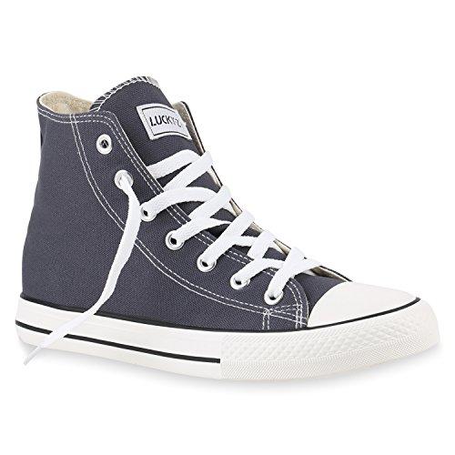 stiefelparadies Herren Schuhe High Top Sneakers Sportschuhe Stoffschuhe Freizeit Schuhe 142809 Dunkelgrau Ambler 41 Flandell