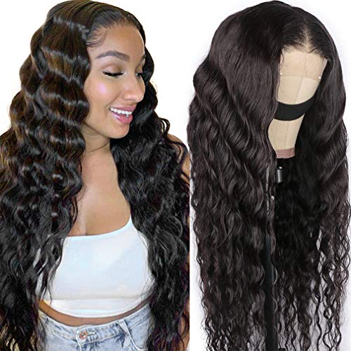 Loose Deep Wave Wig Human Hair Closure Wig Loose Deep Wave 4x4 Lace Front Wig Pre Plucked with Baby Hair Natural Hairline 150% Density 20 Inches Cute Fairy