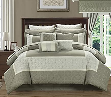 Chic Home 24-Piece Aida Quilted Embroidered Room in a Bag Comforter Set,  Taupe,  Queen