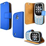 PIXFAB For Nokia 3310 3G / 4G, Blue Leather Book Wallet